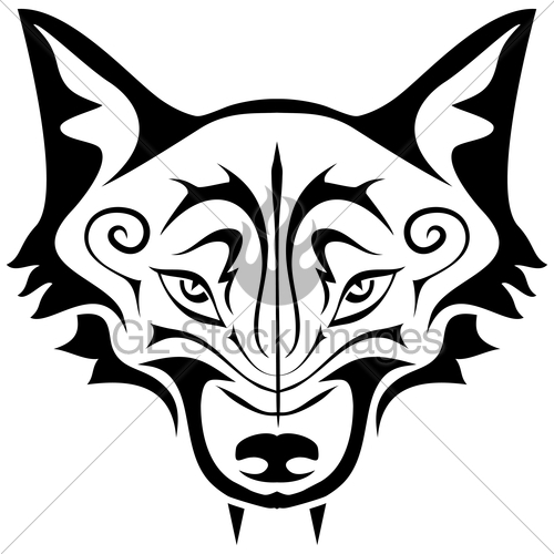 Fox Head Outline Black Wolf Tattoo