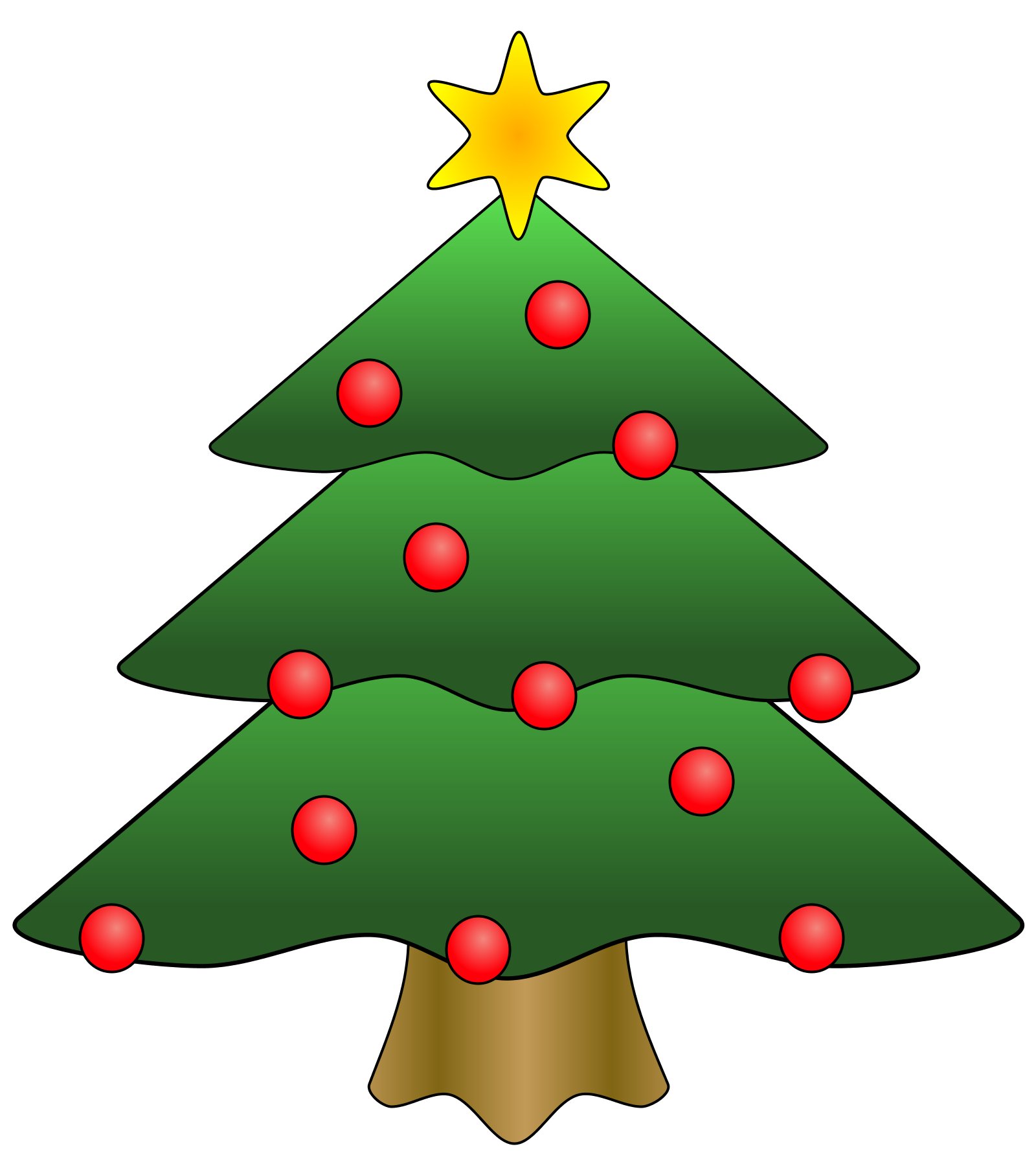 Free christmas tree clip art borders decorated christmas tree clipart