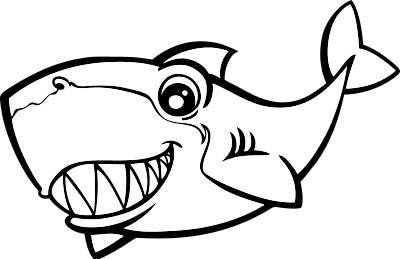 Cute shark clipart black and white - photo#7