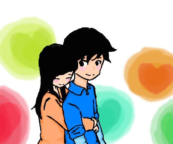 Girl hugs boy from behind by | Clipart Panda - Free ...