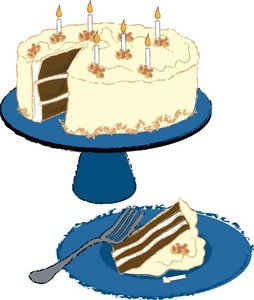 Chocolate Cake With Vanilla Frosting Clip Art