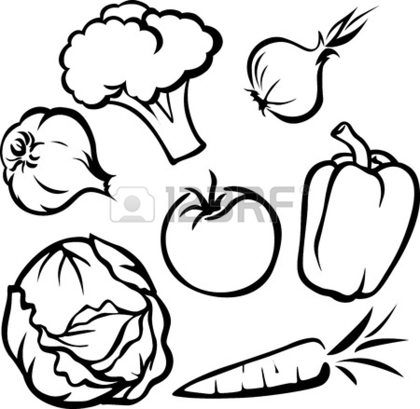 fruit and vegetable clipart black and white clipart