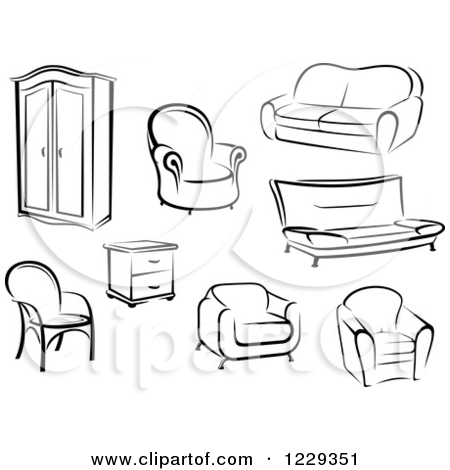 black n white furniture. Furniture%20clipart Black N White Furniture L