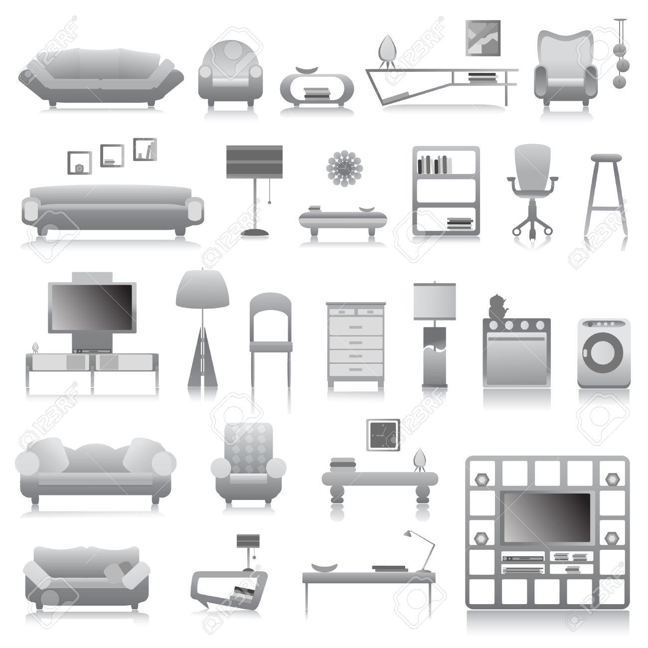 Modern Classroom Vector : Furniture clip art black white clipart panda free
