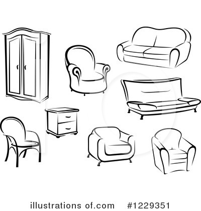 Furniture Clip Art Black White