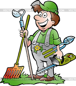 Hand-drawn an happy Gardener | Clipart Panda - Free Clipart Images