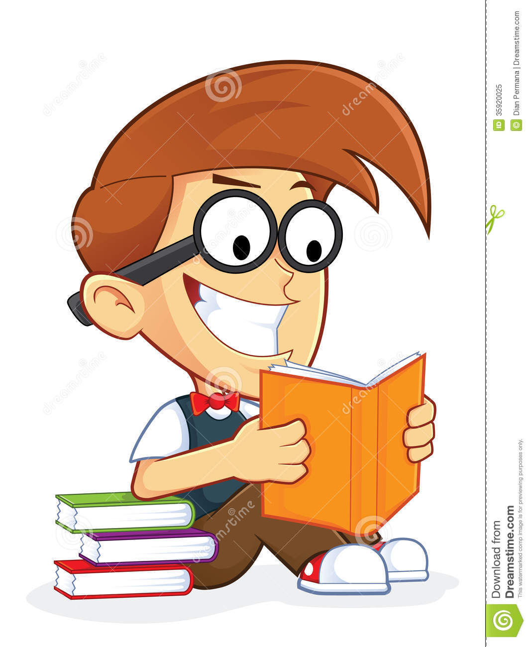 Cartoon Characters Reader : Nerd geek reading book royalty clipart panda free