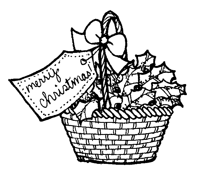 Clip Art Christmas Basket : Black and white raffle basket clipart