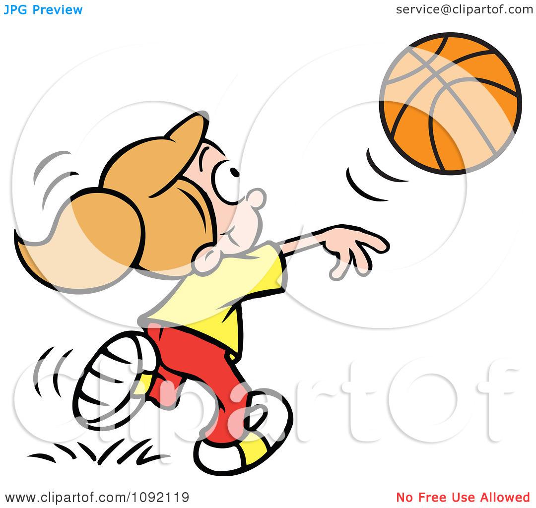 Cartoon basketball girl player shooting