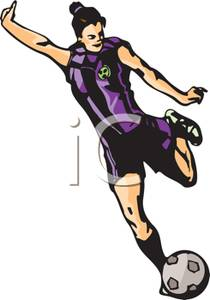 Cartoon girl soccer player kicking ball