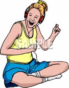 Girl Listening to Music Clip Art