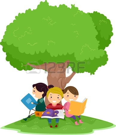 Girl Reading A Book Under A Tree | Clipart Panda - Free ...