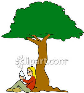 girl reading a book under a tree clipart panda free