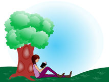 reading a book under a tree clip art � cliparts