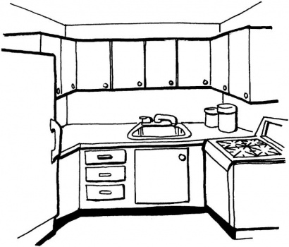 Kitchen Coloring Sheet