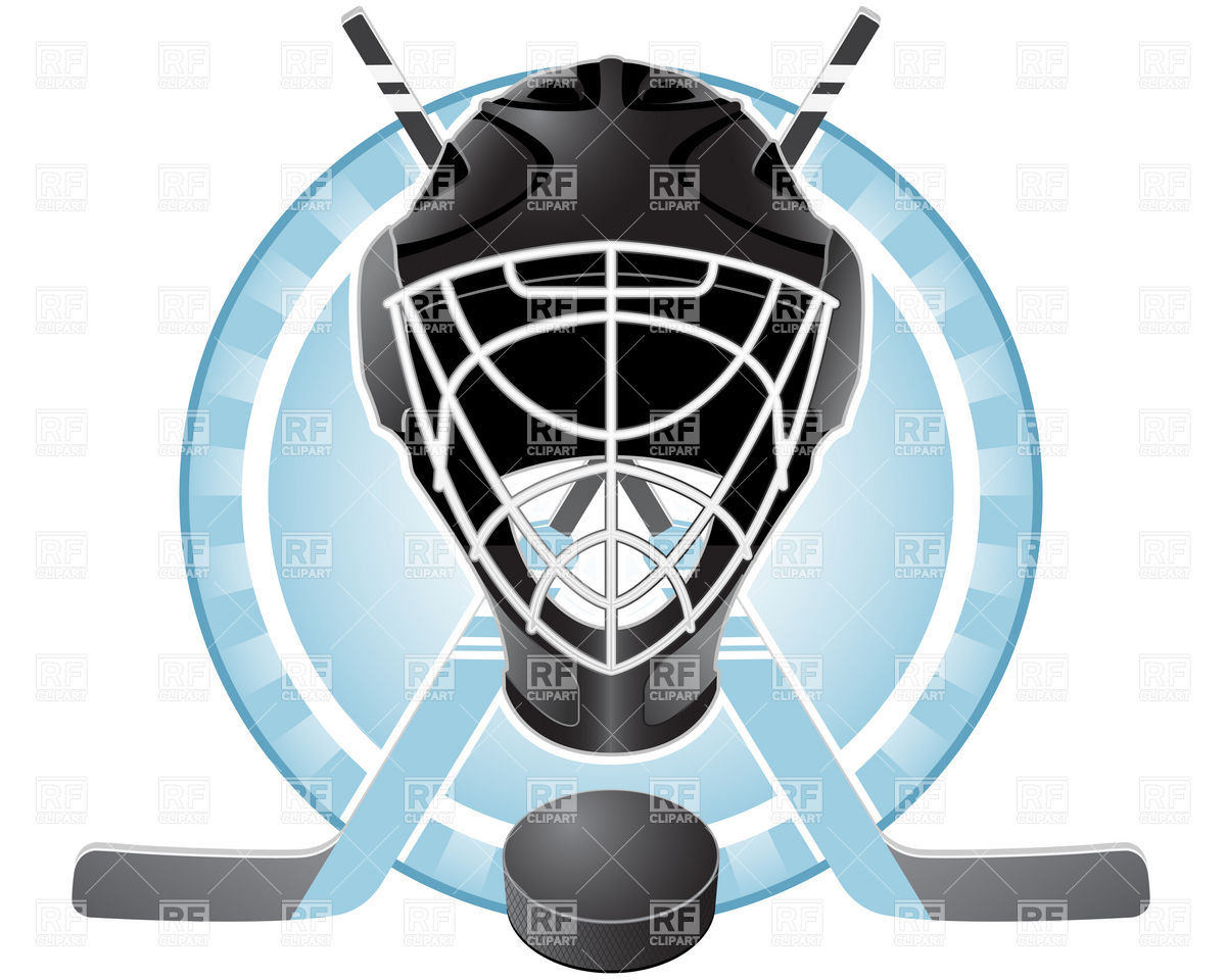 Hockey sticks and puck clipart