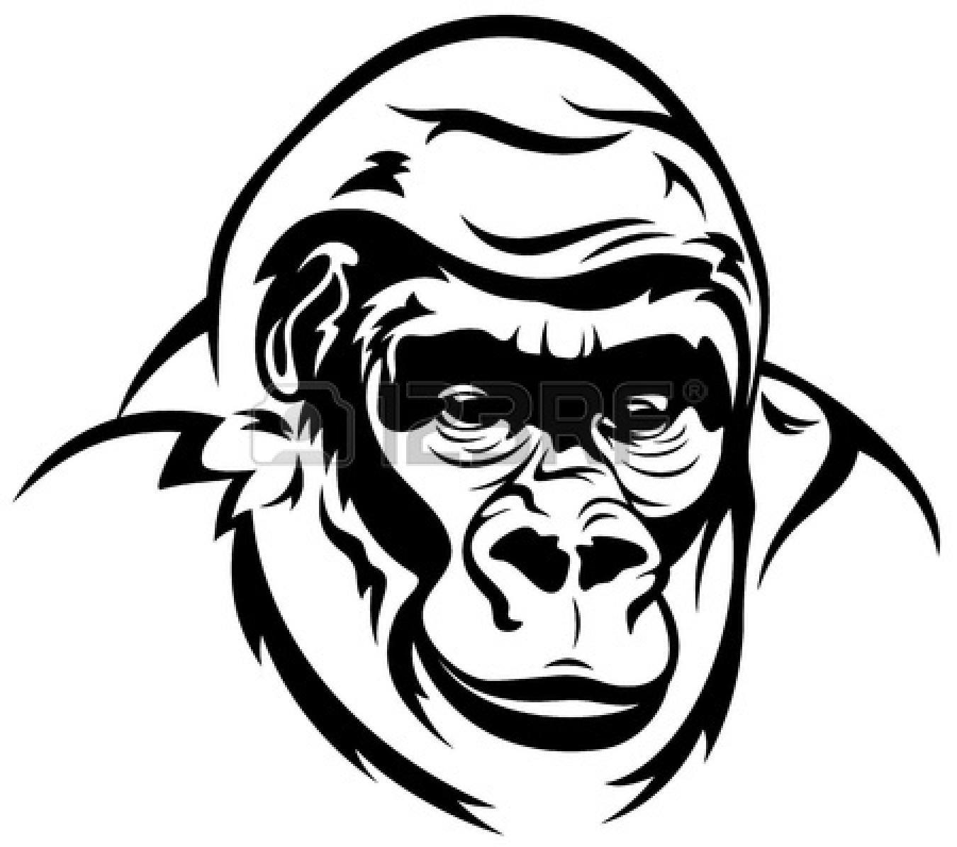 gorilla%20clipart%20black%20and%20white