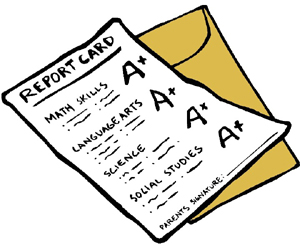 clipart report card displaying A+