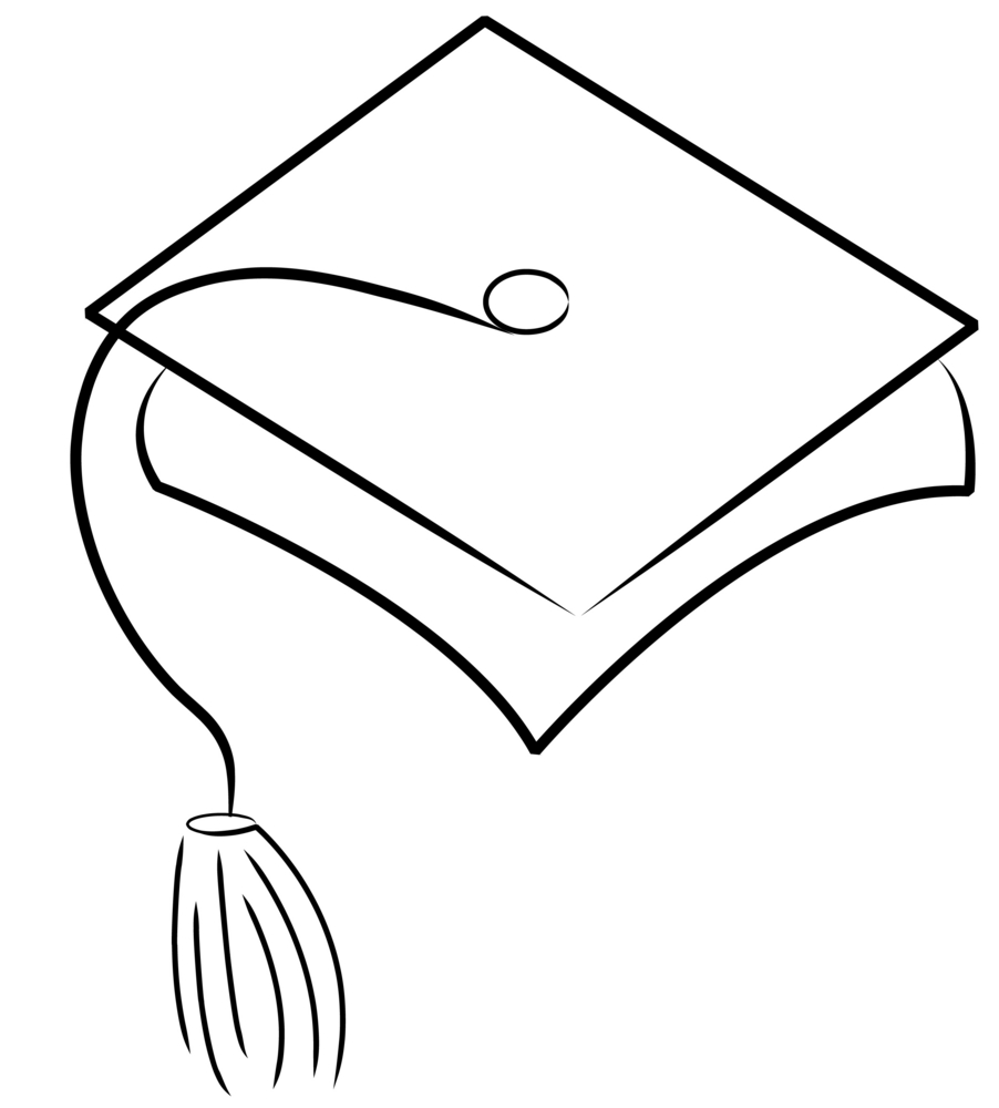 Jpg To Line Drawing : Graduation cap drawings clipart panda free images
