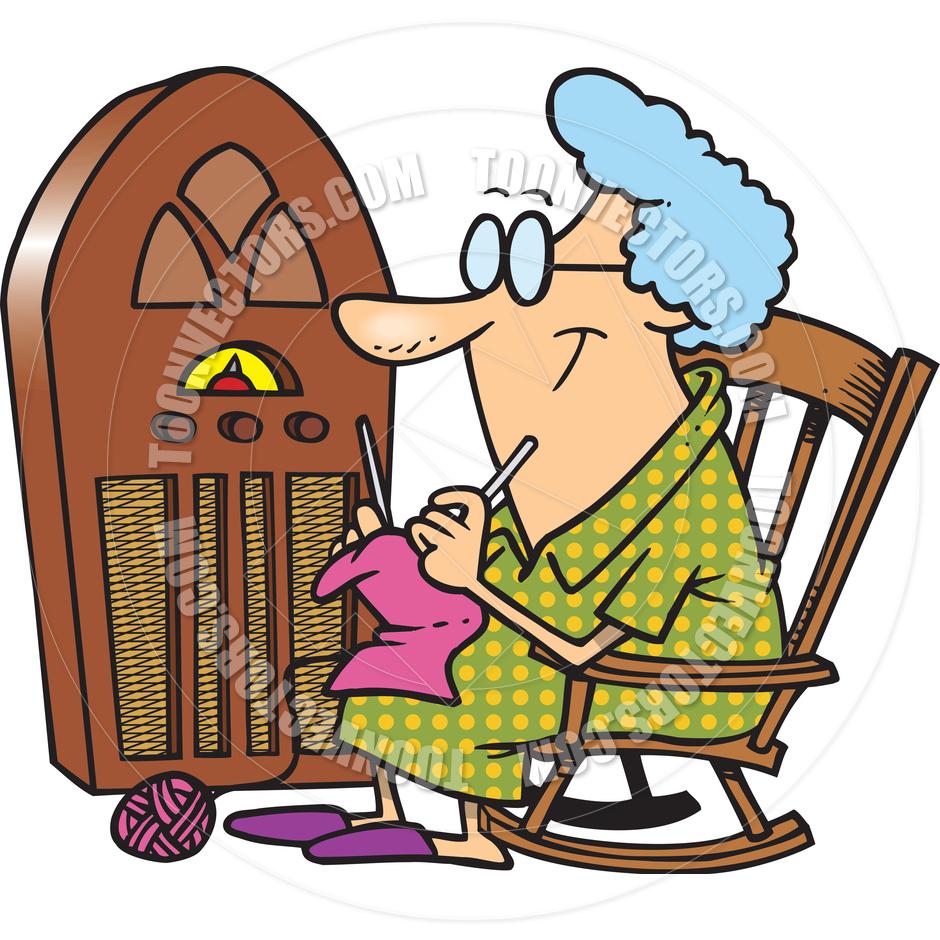 Grandma Knitting Clipart : Cartoon antique radio clipart panda free images