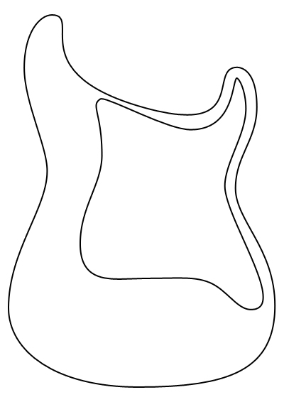 Guitar outline template clipart panda free clipart images for Bass guitar body templates