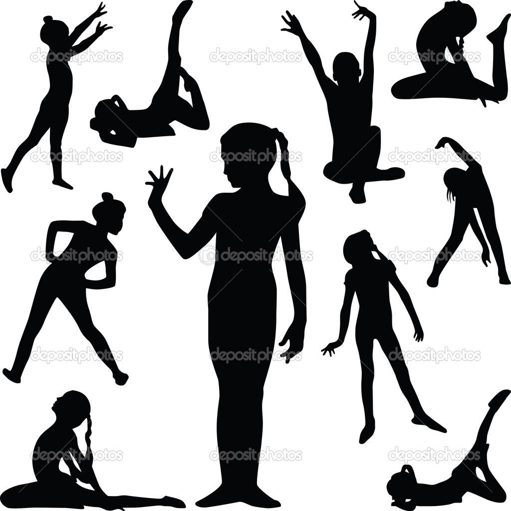 Silhouettes Clip Art GirlGymnastics Silhouette Cartwheel