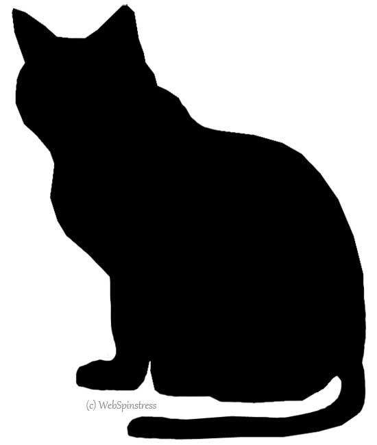 Halloween black cat silhouette clipart panda free for Black cat templates for halloween