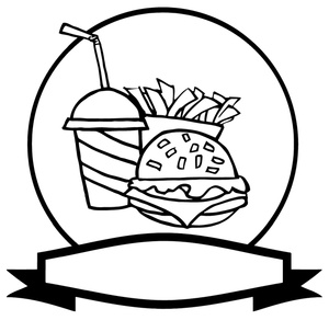 hamburger-clipart-black-and-white-black and white hamburger soda and    Meal Clipart Black And White