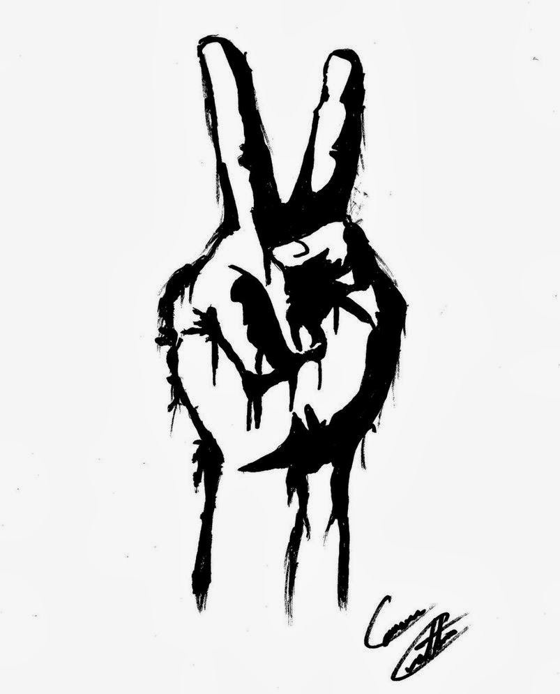 Peace Hands Drawing Hand Peace Sign Drawing