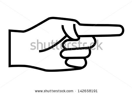Pointing hand clipart black and white