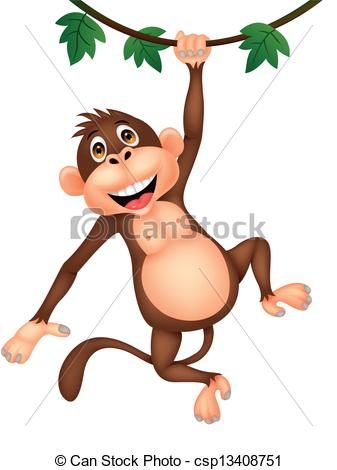 hanging monkey clipart can stock photo_csp13408751