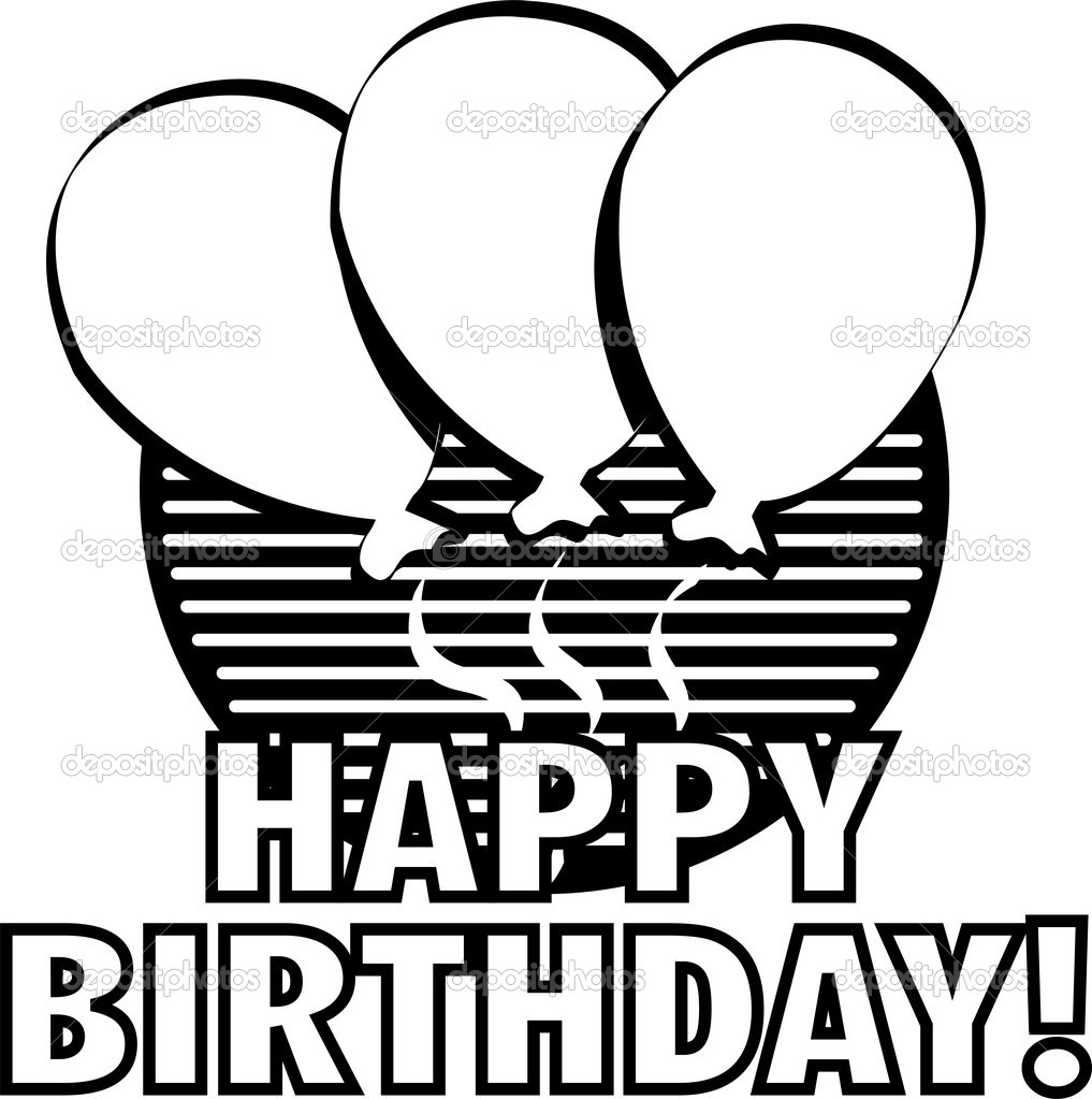Happy Birthday Black And White | Clipart Panda - Free ...