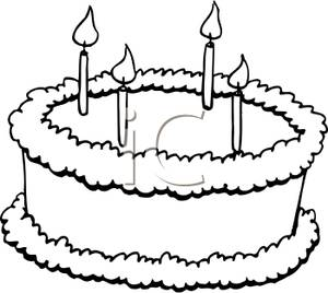 Clip Art Black and White Cake