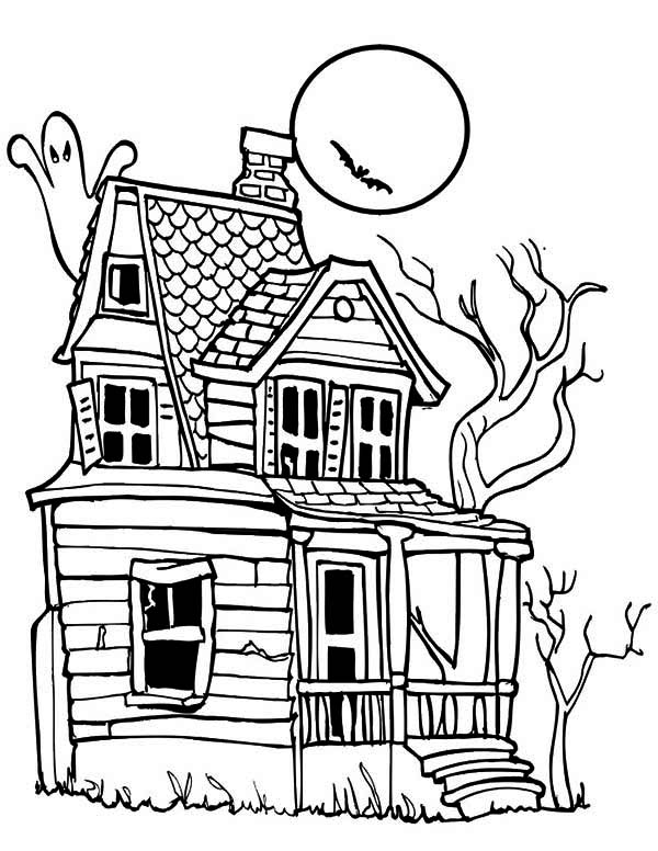 haunted house coloring page miakenas net