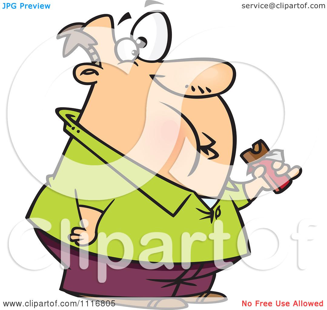 Fat Guy Eating Chocolate Bar