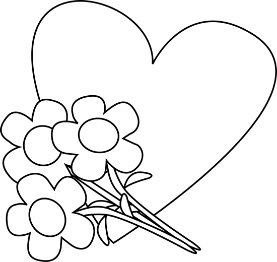 Bouquet Of Flowers Clipart Black And White