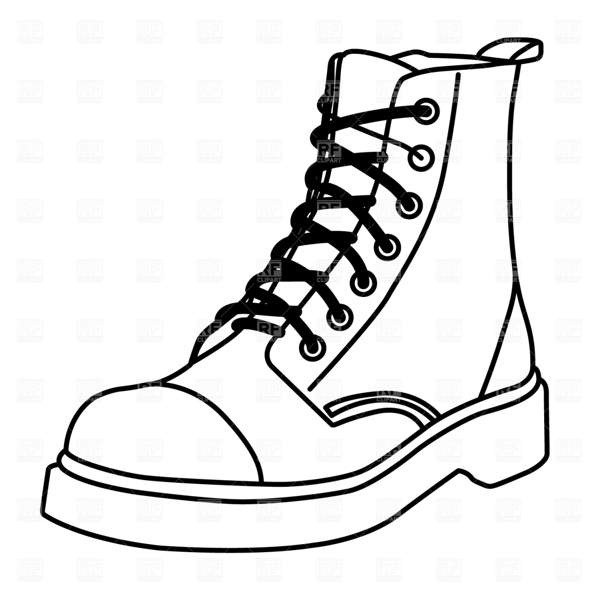 Fashion Boots Drawing Hiking Clipart Black And