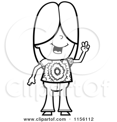 hippie drawings sketch coloring page