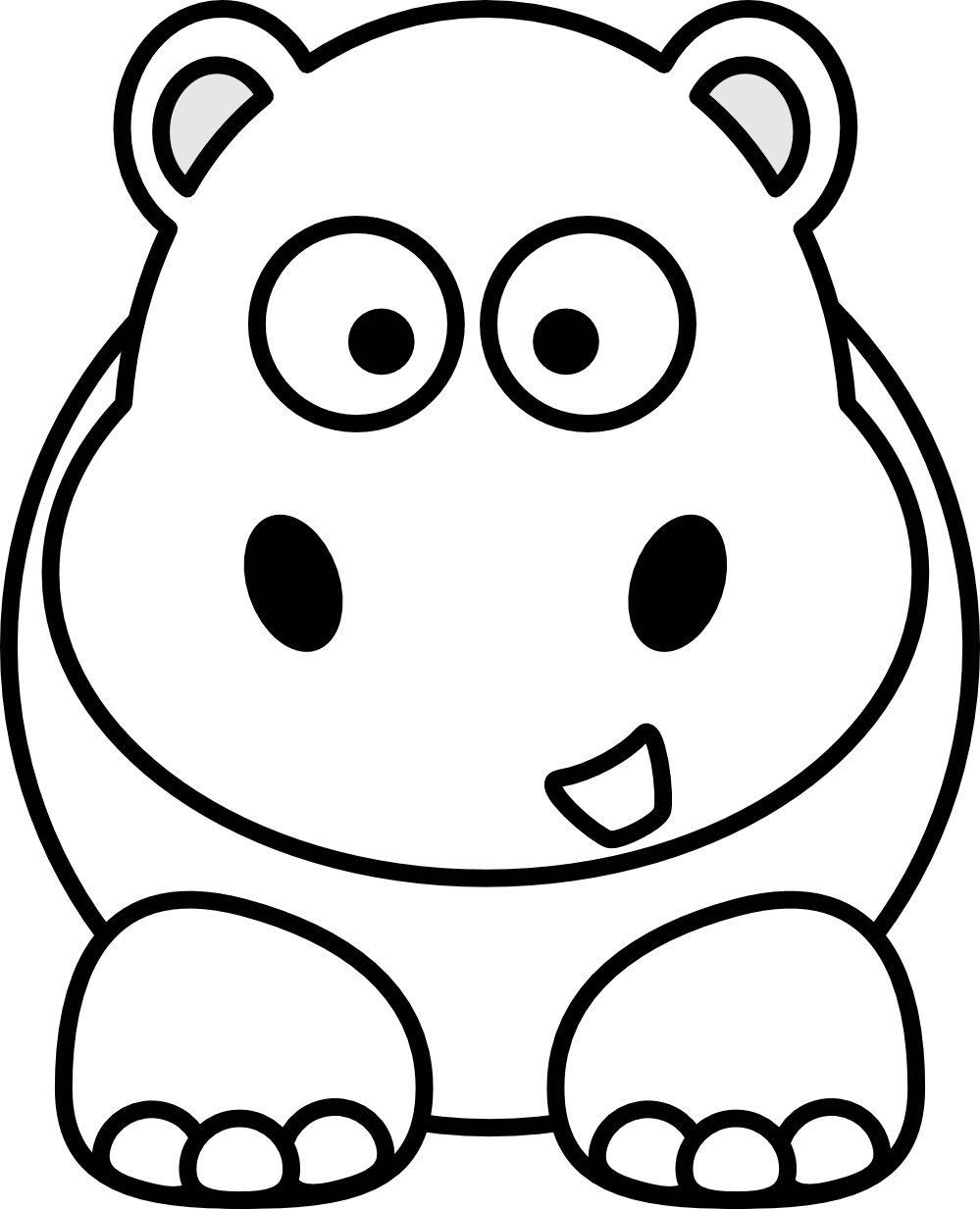 Hippo Art Images: Hippo Clipart Black And White