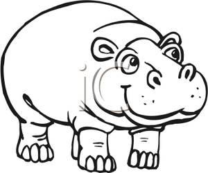 Black and White Hippo Clip ArtHippopotamus Black And White
