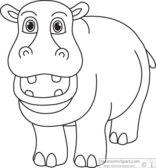 Simple Hippo Coloring Page