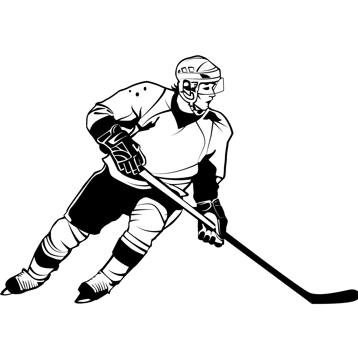 Hockey player clipart black and white