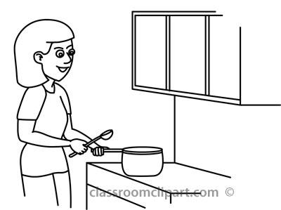 Kids Cooking Clipart Black And White   Clipart Panda ...