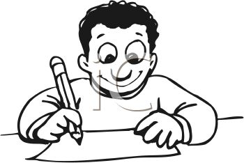 Child writing a letter clip art