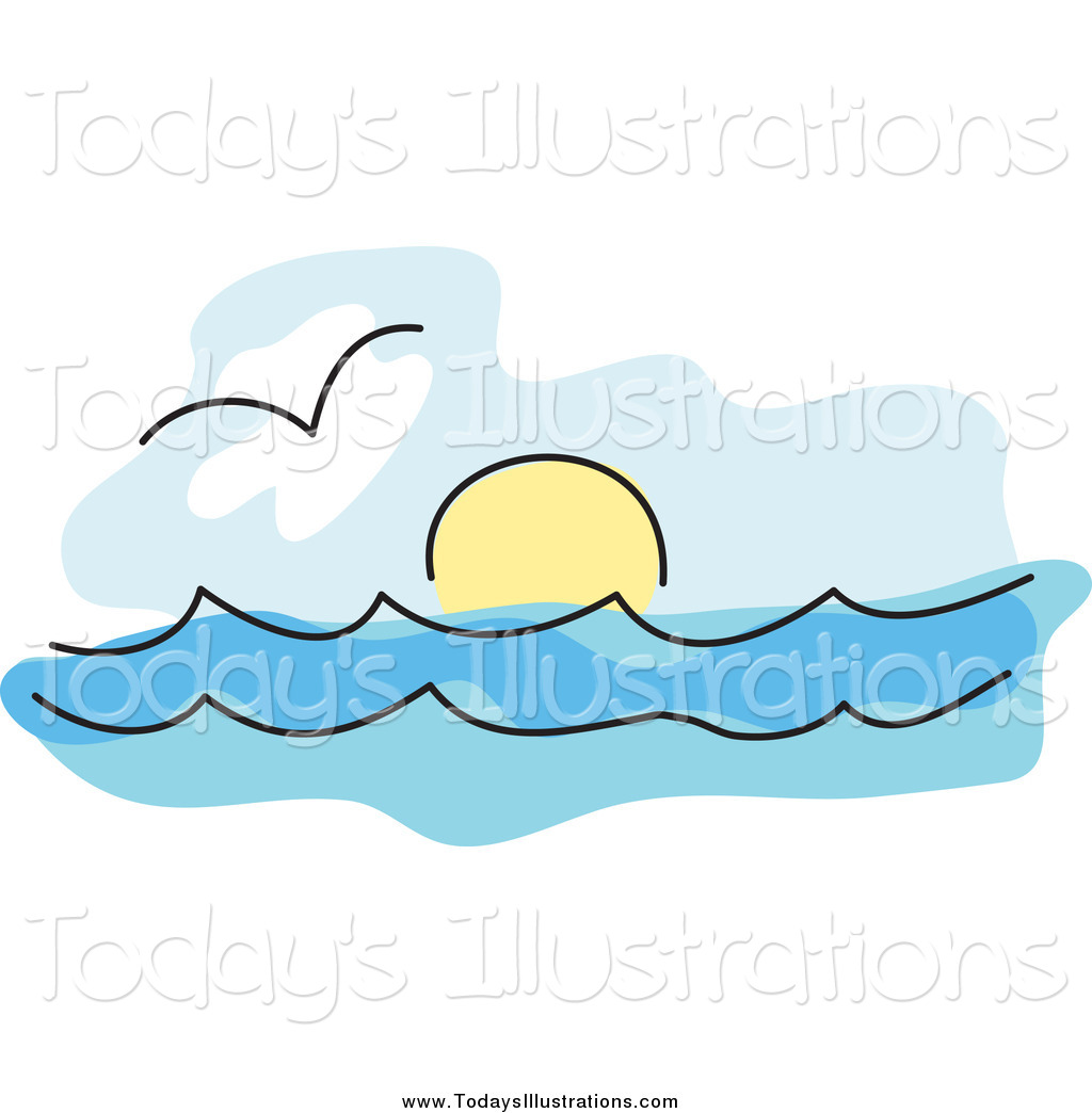 horizon-clipart-clipart-of-a-seagull-over-the-surf-and-the-sun-on-the ...