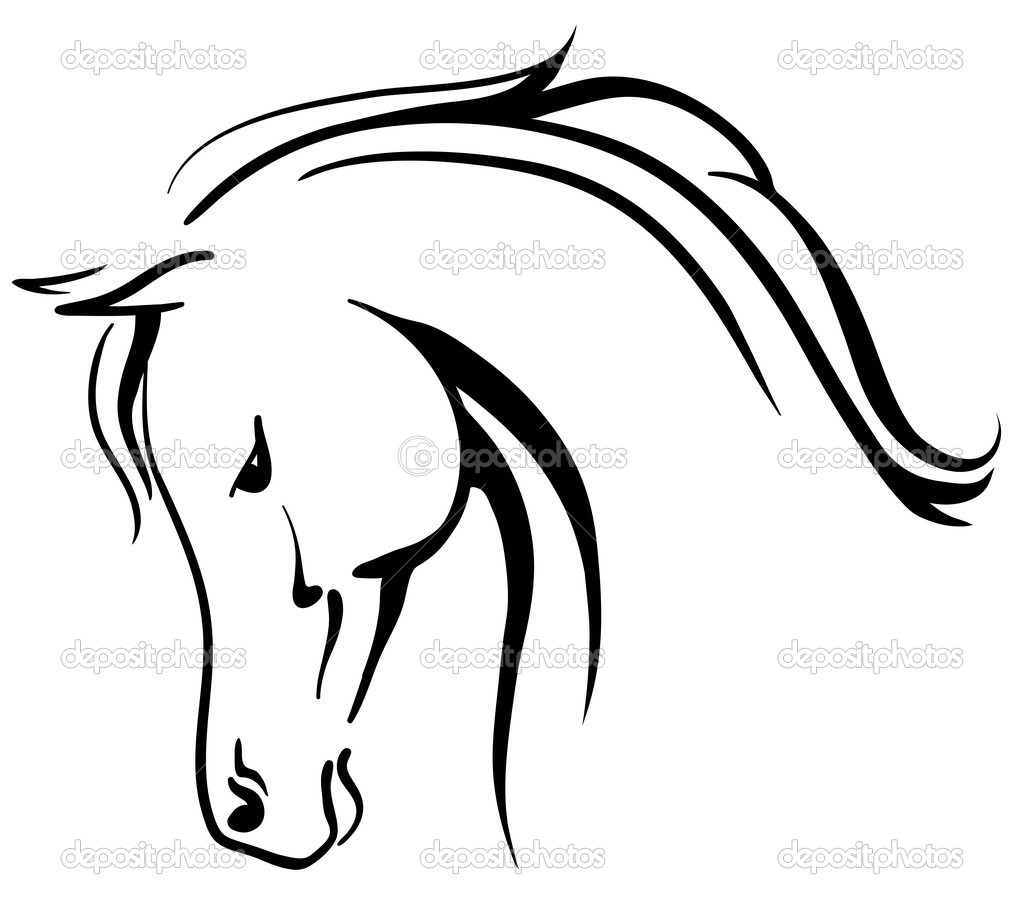 Horse head outline clip art clipart panda free clipart for Immagini cavalli stilizzati