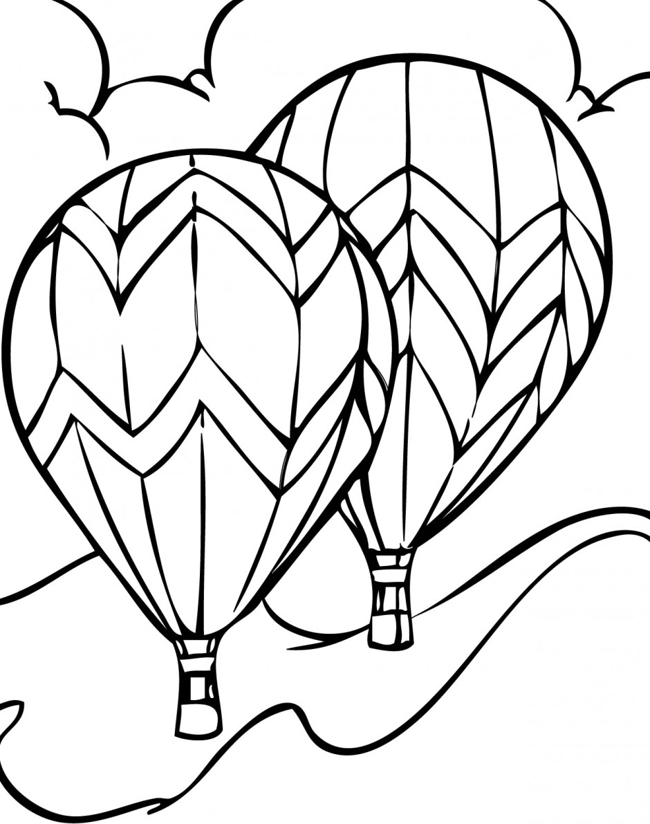 Vintage Airplane Coloring Page Western Hot Air Balloo...