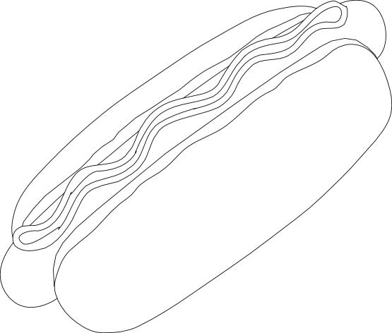 hot dog clipart black and white