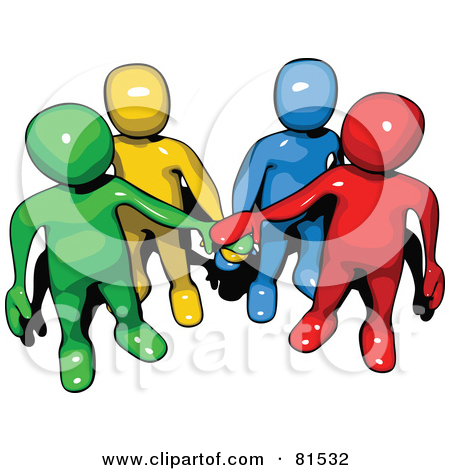 Pal Clipart of a 3d Colorful Team of People Huddled by Jiri Moucka - #489