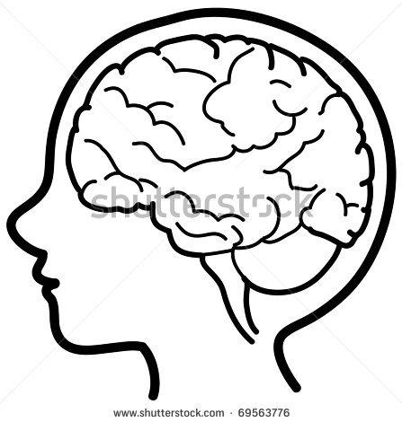 Brain head line drawing